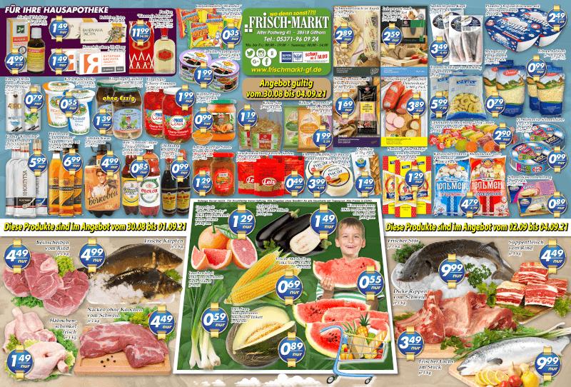 Wochenangebot im Frischmarkt Gifhorn vom 30.08. bis 04.09.2021