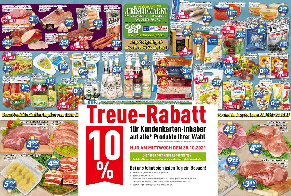 Wochenangebot im Frischmarkt Gifhorn vom 18.10. bis 23.10.2021